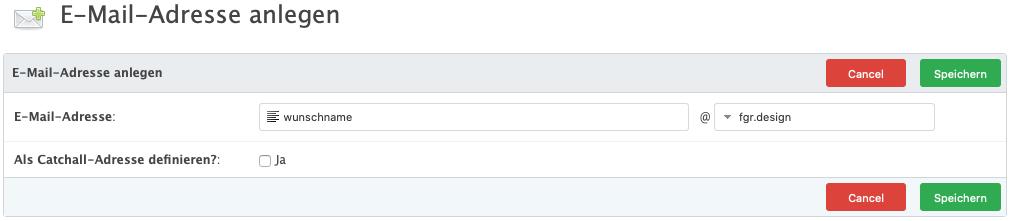 eMail-Adressen anlegen